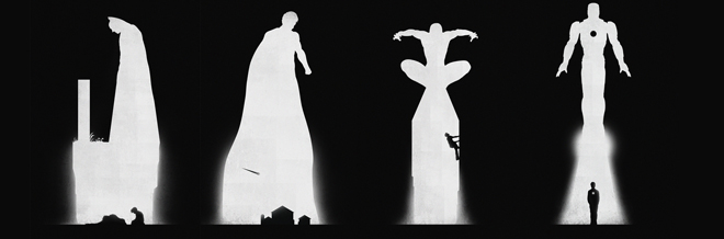 Silhouette illustrations Of Superheroes Showing Their Past And Present Lives