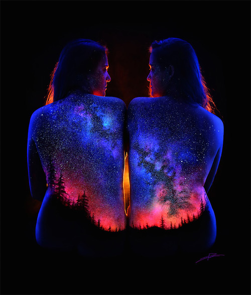 John Poppleton night sky bodyscapes black light photography