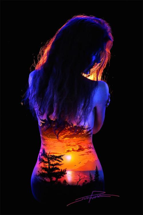 John Poppleton bodyscapes mountain lake black light photography