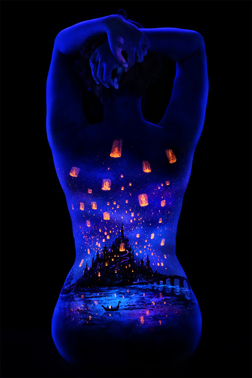 John Poppleton bodyscapes lanterns black light photography
