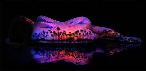 John Poppleton bodyscapes tropical sunset black light photography