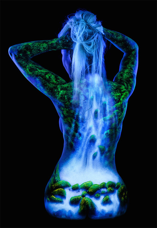 John Poppleton  amazing waterfalls bodyscapes black light photography