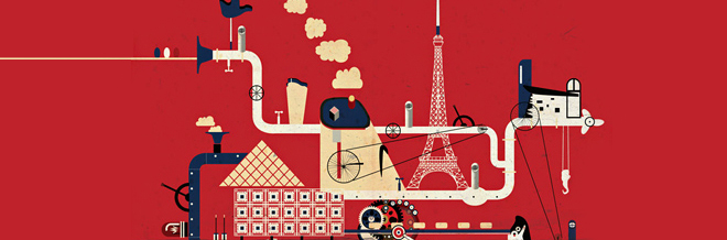 World Renowned Landmarks Of Different Countries Illustrated Into Manufacturing Machines