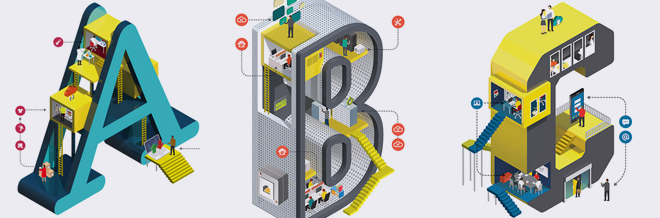Illustrated Letters Beautifully Portraying Structures Of Different Businesses