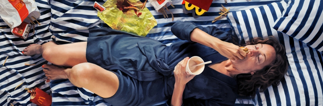 You'll Be Amazed With These Realistic Paintings Portraying A Woman Having Binge Eating