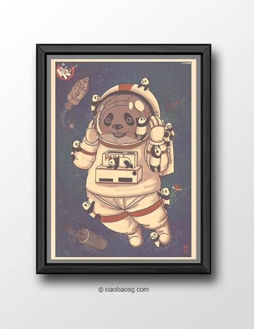 Astronaut  William Chua featured panda propaganda posters