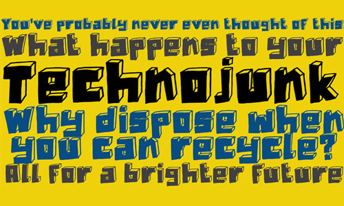 Technojunk free drop shadown fonts
