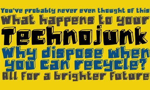 Technojunk free drop shadown fonts