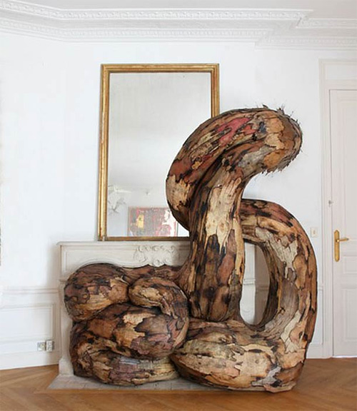 henrique oliveira wooden installation art