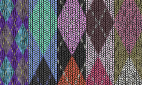Seamless argyle fabric textures