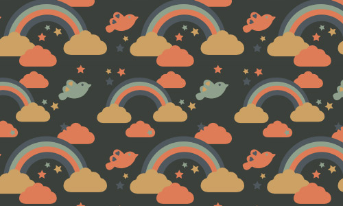 Rainbow birds clouds patterns free