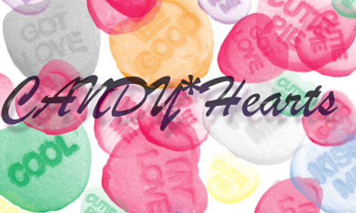 Hearts candy brushes