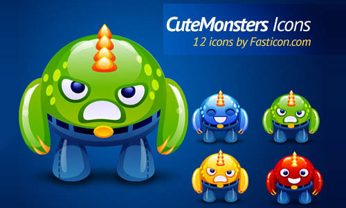 Cute monster icons