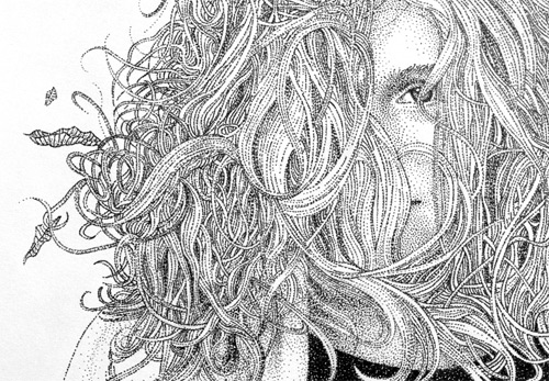 girl in the wind pointilism Pablo Jurado Ruiz