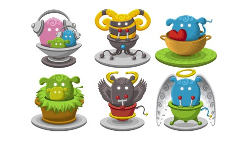 Basket monster icons