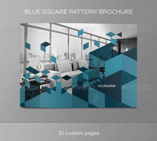 blue pattern brochure designs