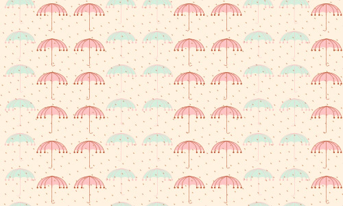Blue pink umbrellas pattern