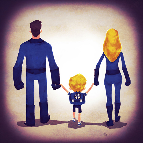 Fantastic 4 Andry-Shango Super families illustrations