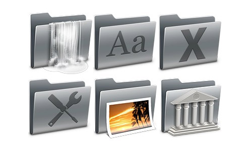 silver folders icons free