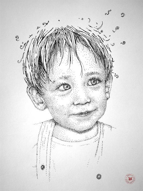 cute baby pointilism Pablo Jurado Ruiz