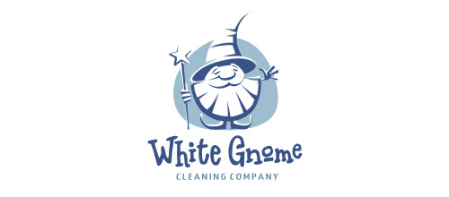 white gnome logo design