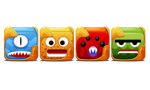 Block monster icon set free