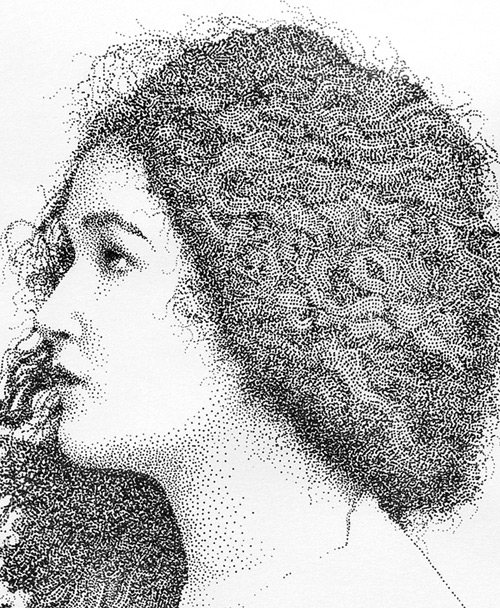 curly hair girl pointilism Pablo Jurado Ruiz
