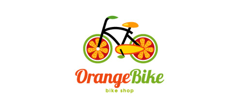 orange logo design bike
