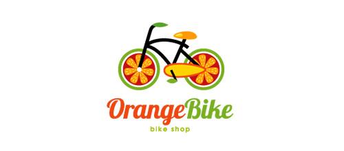 orange logo design bike