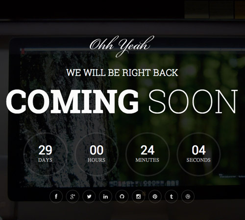 dark coming soon page template