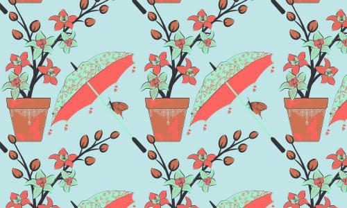 Umbrella flower pattern