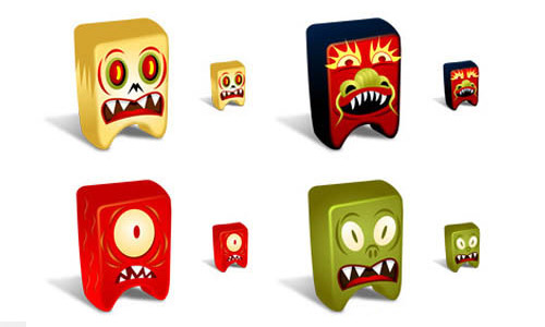 Square monsters free icon set
