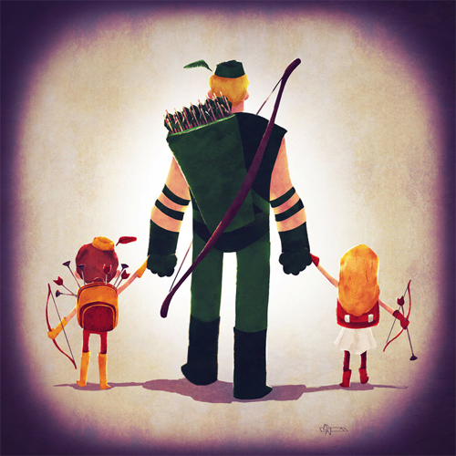 Arrow dad Andry-Shango Super families illustrations