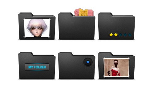 black folder icons