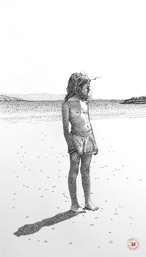 little girl in the sea pointilism Pablo Jurado Ruiz