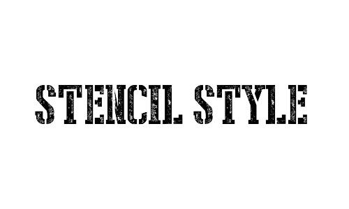 stencil stamped font