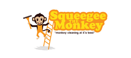 monkey cleaning logo design