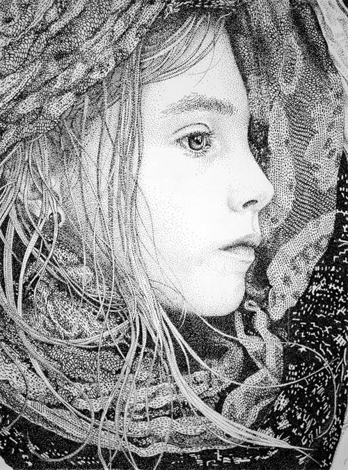 nomad girl pointilism Pablo Jurado Ruiz