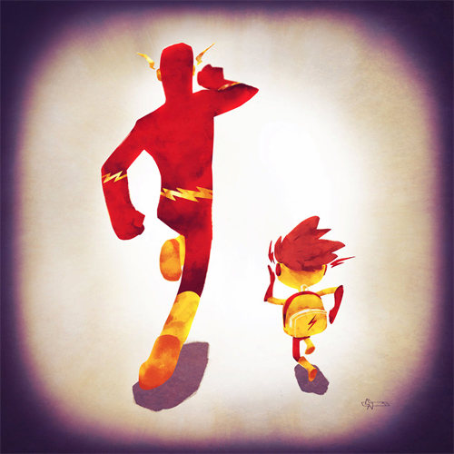 Flash dad Andry-Shango Super families illustrations