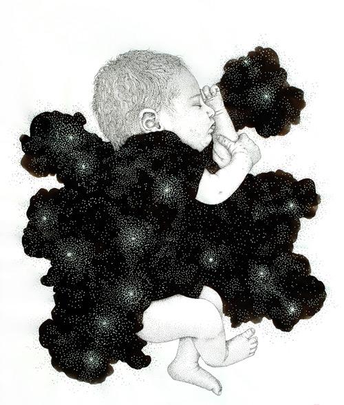 baby sleeping pointilism Pablo Jurado Ruiz