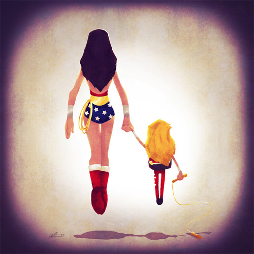 Wonder woman mom Andry-Shango Super families illustrations