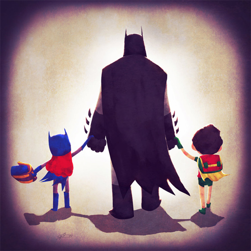 Batman dad Andry-Shango Super families illustrations