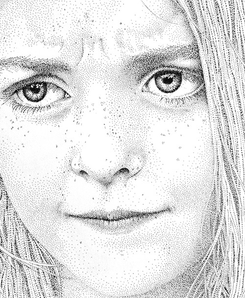 face of girl pointilism Pablo Jurado Ruiz