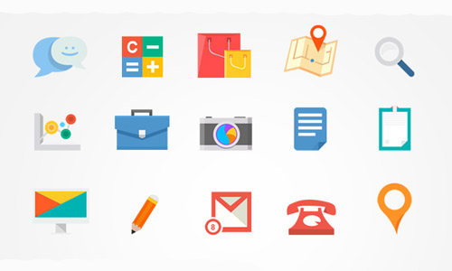 Cute free flat icons set