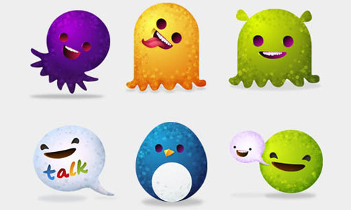 Moshi world icons set