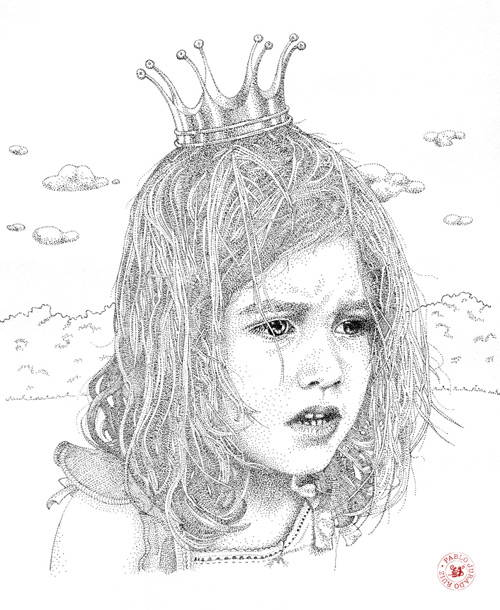 girl with crown pointilism Pablo Jurado Ruiz