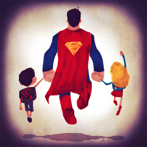 Superman dad Andry-Shango Super families illustrations