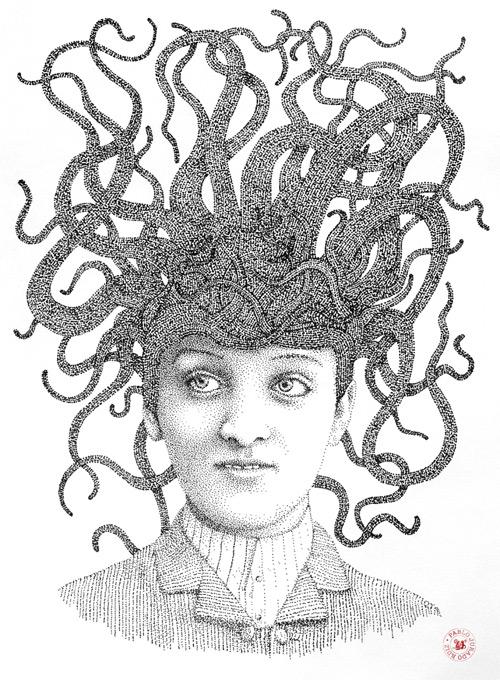 snake hair pointilism Pablo Jurado Ruiz