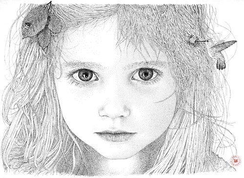 girl with a bird pointilism Pablo Jurado Ruiz