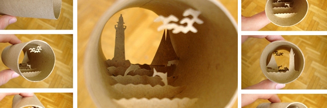 Exquisite Sculptures Of Small Worlds Inside Tissue Rolls